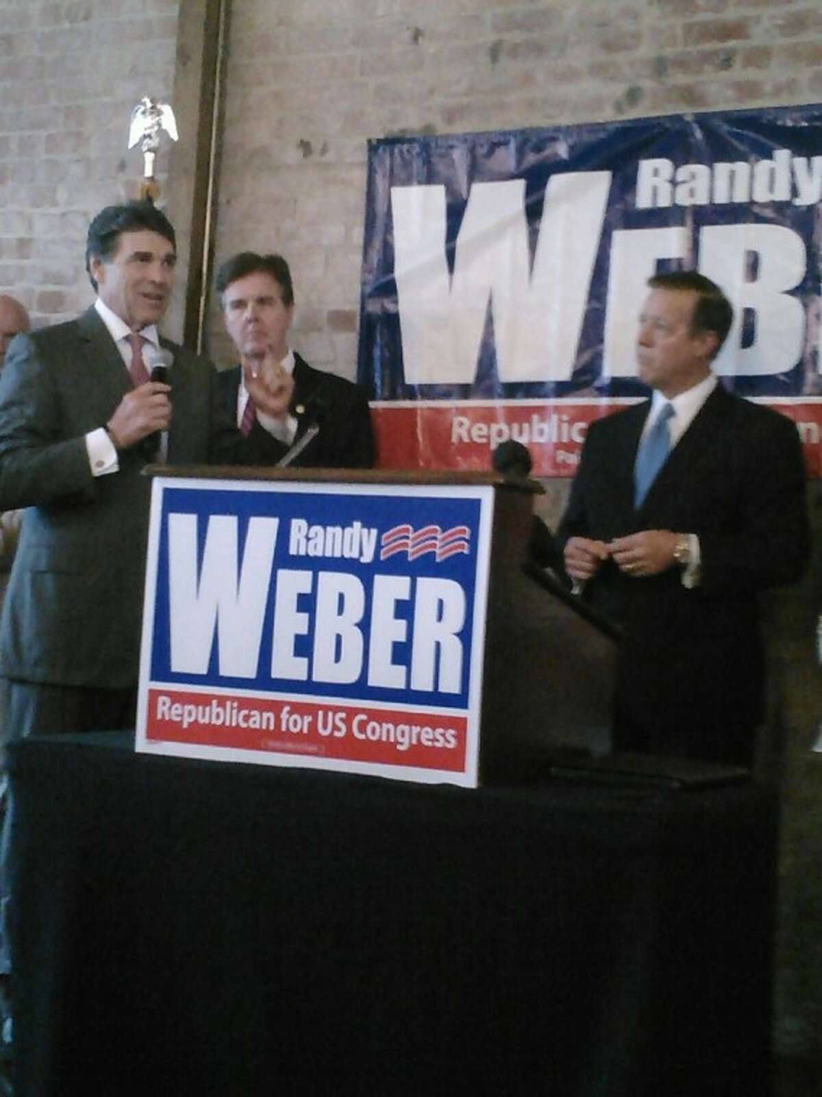 """Gov. Rick Perry voiced support for congressional candidate Randy Weber at a rally held in League City Wednesday (July 11). """"I can't tell you how important it is to send a committed, proven conservative to the United States Congress to represent the folks in this part of the state,"""" Perry said. """"As a conservative, Randy Weber does have a tremendous record."""""""
