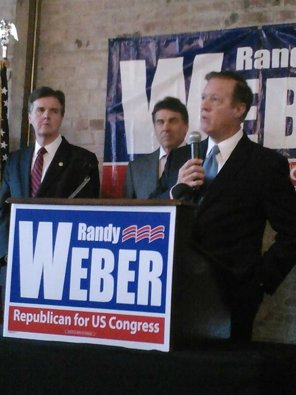 """A campaign rally was held in League City for congressional candidate Randy Weber. """"Let's show Democrats the Texas model where we lead the nation in job creation,"""" Weber said. """"Let's show them the Texas model where we lead the nation with the number one state economy, where we lead the nation in protecting liberty and states' rights and where we lead the nation in the fight to repeal Obama-care."""" Pictured from left: State Senator Dan Patrick, Gov. Rick Perry, Rep. Weber."""
