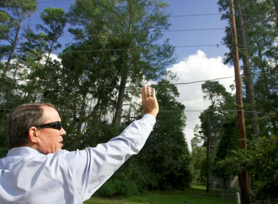 Tim Sbrusch, Service Area Director for CenterPoint Energy, points out power lines near trees. Photo: Staff Photo By Eric Swist