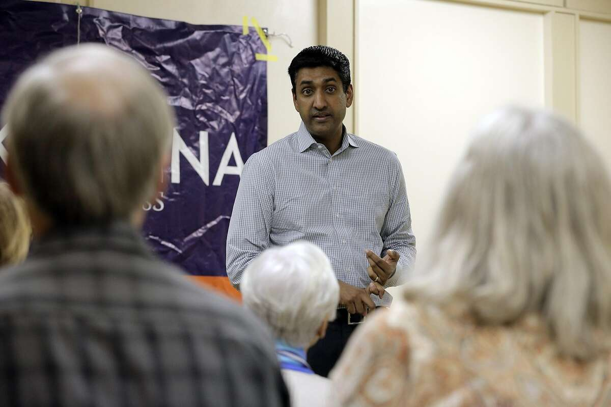 Ro Khanna talks to the audience at a Town Hall meeting where the congressional candidate met with constitiuents at Maywood Park in Santa Clara, Calif., on Wednesday, September 28, 2016.