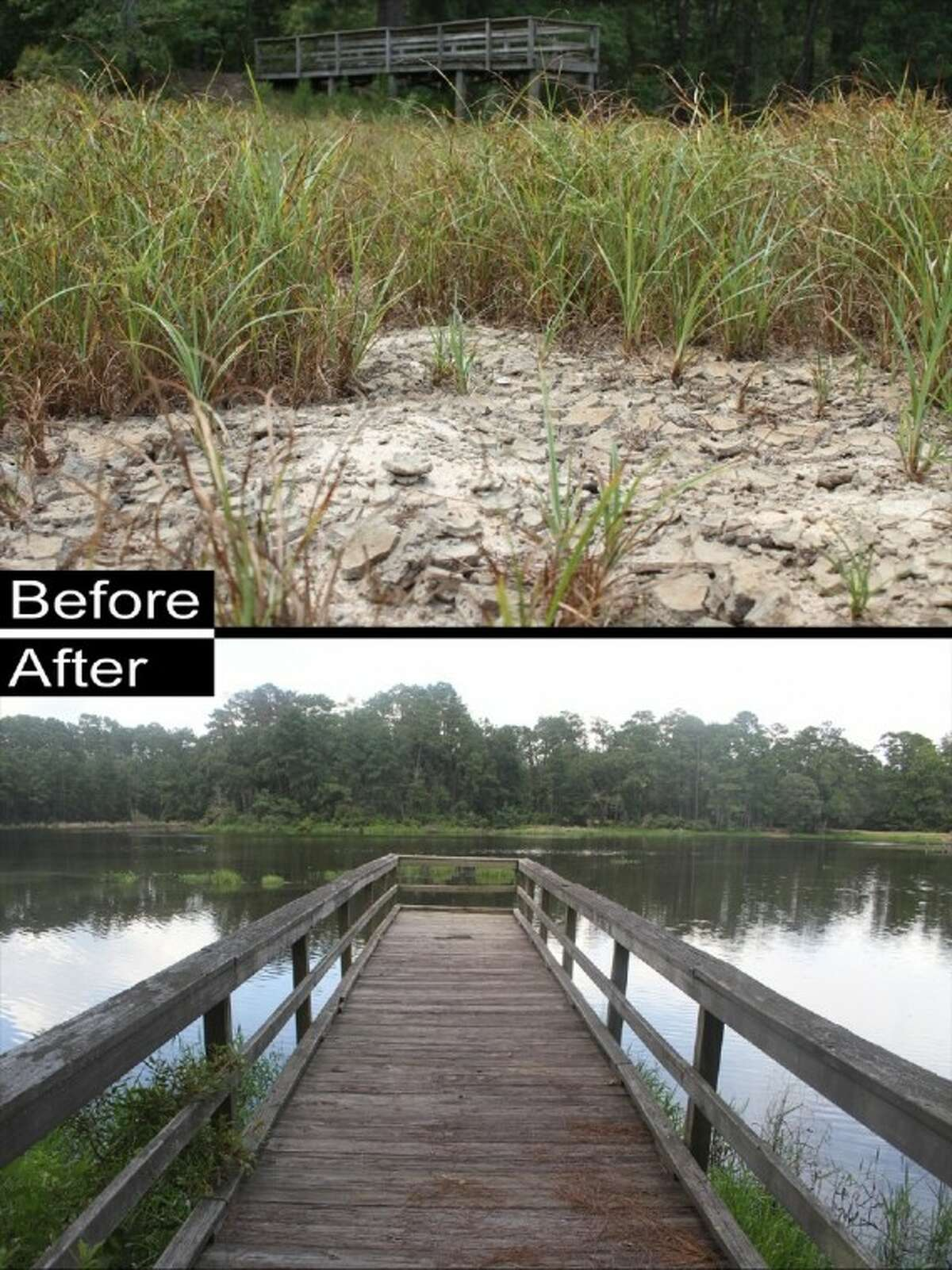 ABOVE: A fishing pier stands unused after the 2011 drought turned Double Lake near Coldspring into nothing more than a large field surrounded by campsites. BELOW: The pier as it looks today thanks to some much-needed rain.