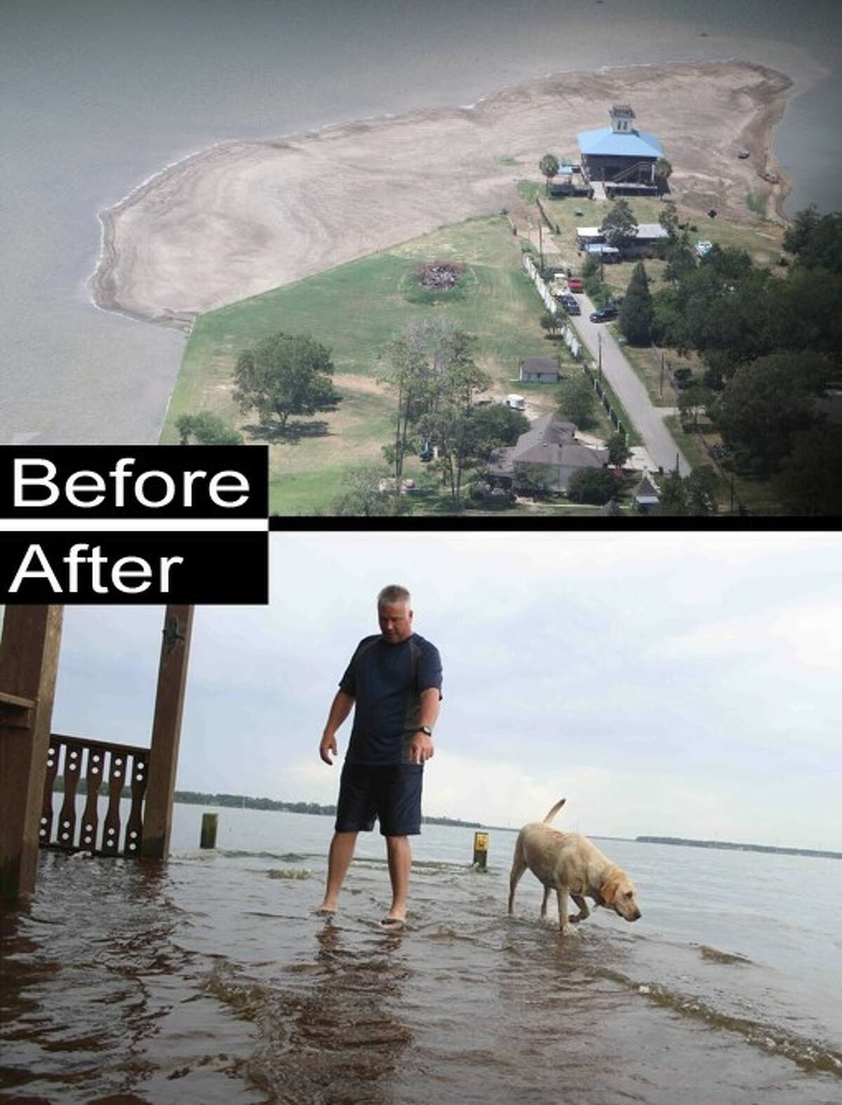 ABOVE: With little rain, the water level of Lake Houston in the summer of 2011 was more than seven feet lower than it was in 2010. BELOW: The recent rains had water covering some of the piers around the lake.