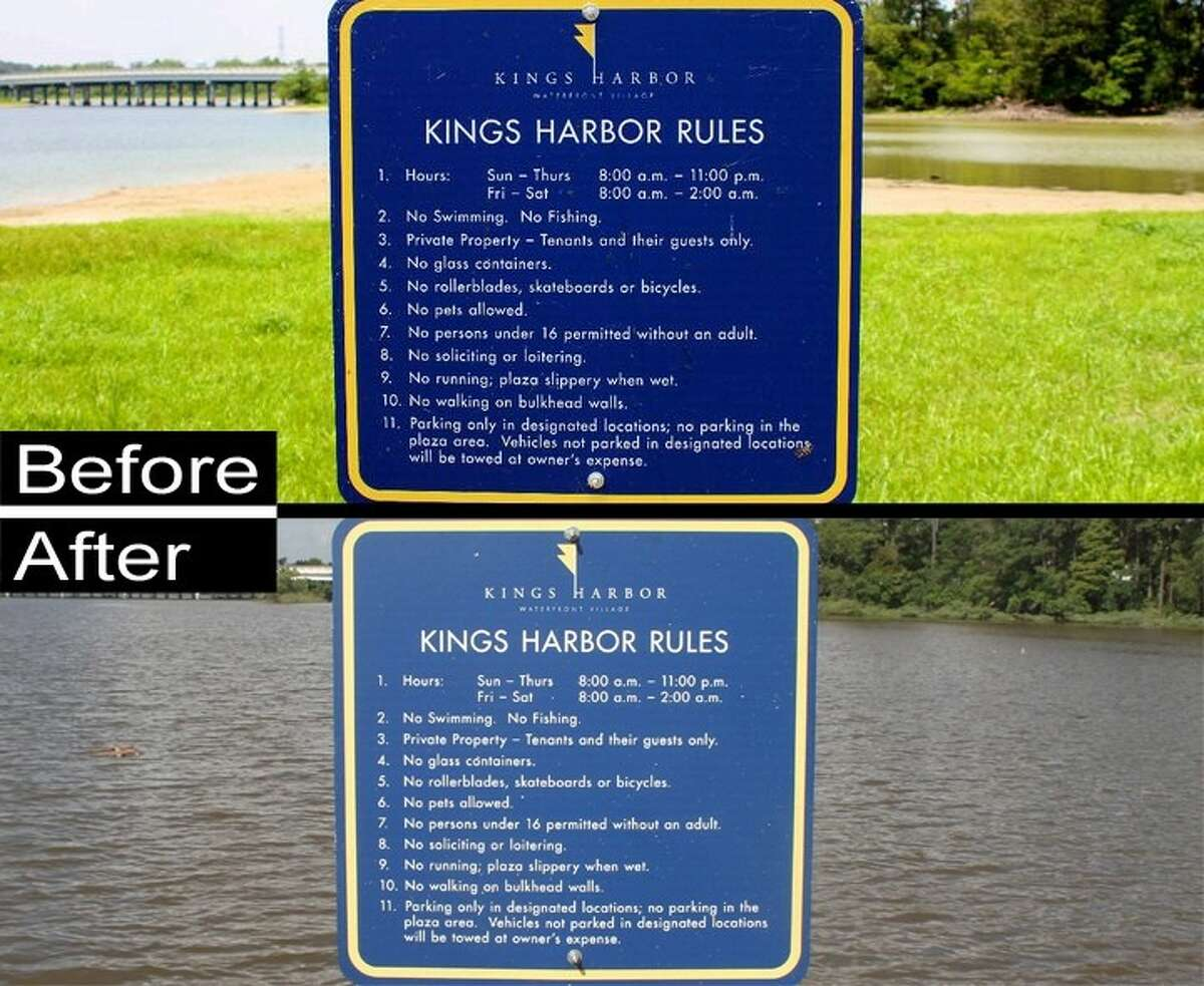ABOVE: The water around King's Harbor, in Kingwood, which at one point measured nearly five feet high, disappeared in the summer of 2011 after months with limited rain and scorching Texas temperatures. BELOW: The water has returned at Kings Harbor, which is on Lake Houston.