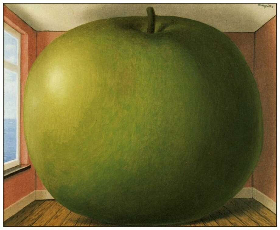 """La chambre d'écoute"" (""The Listening Room"") begs the question, what can a big green apple hear without ears, anyway?"