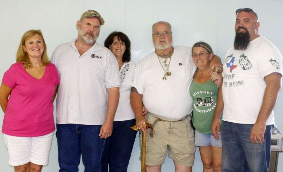 """The team that made the 4th Annual Boozefighters 58 Michael """"Buck"""" Buckley Memorial BBQ Cook-Off a success included (from left) Donna and Steve Williams, IBCA judges; Cathleen Buckley, coordinator; """"Big John"""" Rogers, national Boozefighters president; Roxanne Buckley, coordinator and widow of Michael """"Buck"""" Buckley; and Michael """"Little Buck"""" Buckley, Boozefighters 58 Chapter president."""