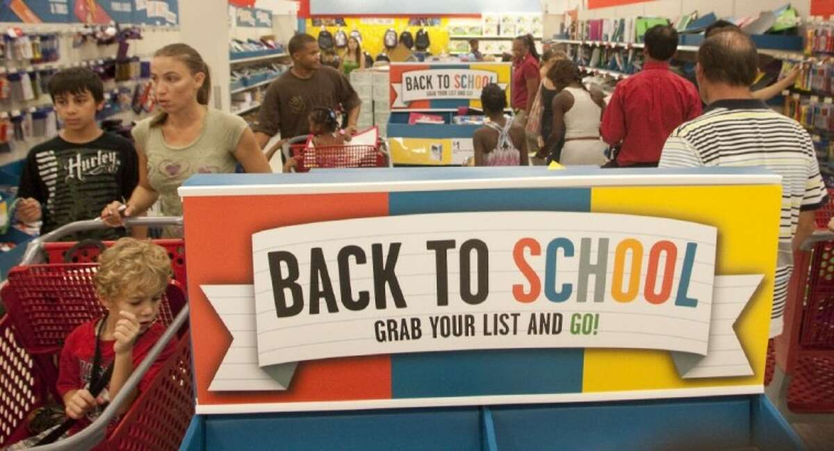 Shoppers at the Target in Meyerland hunt for school supplies during Tax-Free weekend on Friday afternoon.