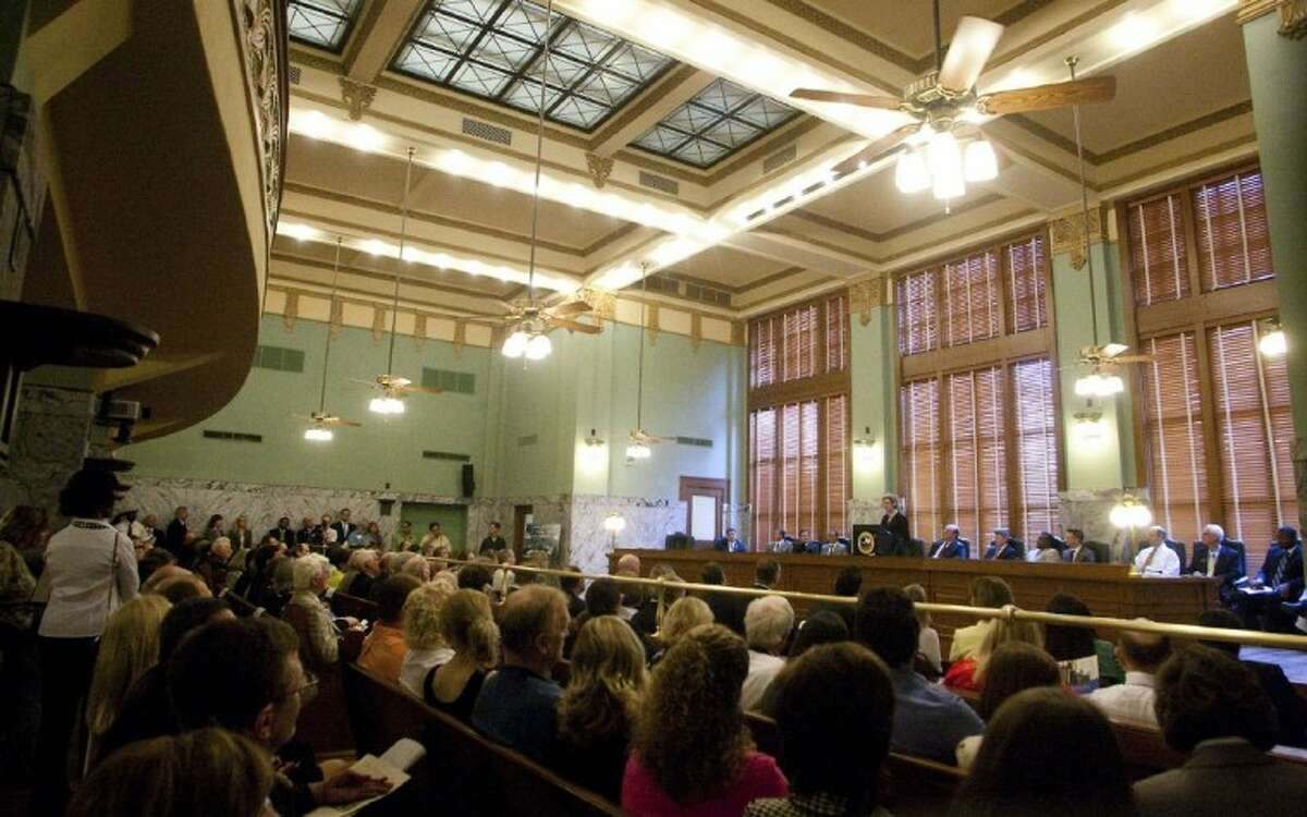Ceremony attendees gather in the newly renovated 1st and 14th Court of Appeals courtroom.