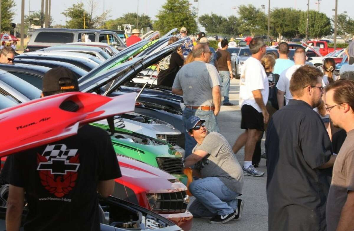 Cars lined up for display Saturday at the Blast to the Past After Hours car show in Katy.