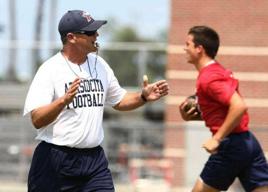 Atascocita head coach Craig Stump instructs players during practice on Aug. 13. Stump moves over to Atascocita after seven years at Beaumont West Brook.
