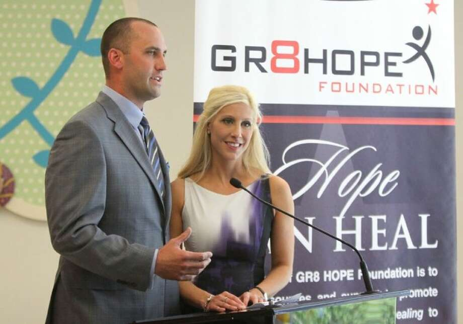 Texans quarterback Matt Schaub and his wife Laurie announce their foundation's donation at the Texas Children's Hospital West Campus in Houston, Texas on June 27, 2013. Matt and Laurie Schaub and their GR8 Hope Foundation made a third donation of 250,000 to the Texas Children's Hospital West Campus that will be used to expand the emergency center. Photo: Alan Warren
