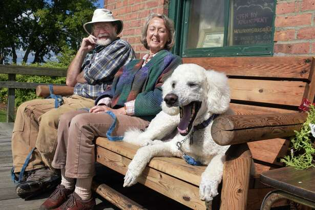 A big yawn from their Standard Poodle Ciel signals the end of today's walk to Jeffrey and Denise Stringer of Niskayuna at Lions Park Wednesday Sept. 28, 2016 in Niskayuna, NY.  (John Carl D'Annibale / Times Union)