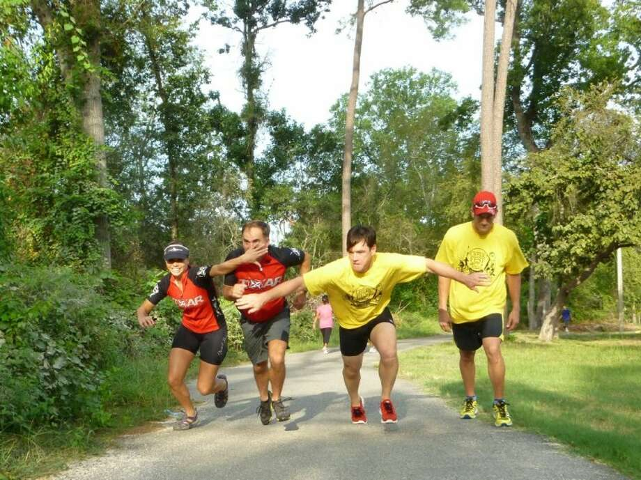 Vanessa Rowden, Wade Woehrmann, Mike Bateman and Kelley Simmons try out the first leg of the race to prepare for CreekFest.