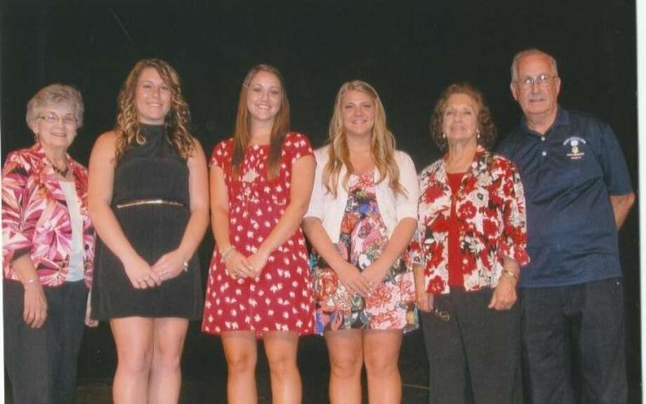 Three Crosby High School seniors recently received a scholarship for the amount of $2,500. Shown from left, are committee member Patsy Spitzmiller and the three scholarship recipients Cara Strickhausen, Ashley Armstrong and Hanna Jo Richardson with the committee members Joyce and Bob Boyles.