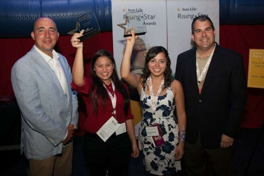 Rising Star Awards Judge John Mann, Sun Life Rising Star Awards winners Liliana Mendoza and Keiry Hernandez proudly displaying their awards with Sun Life Financial Regional Group Manager Doug Gosney.