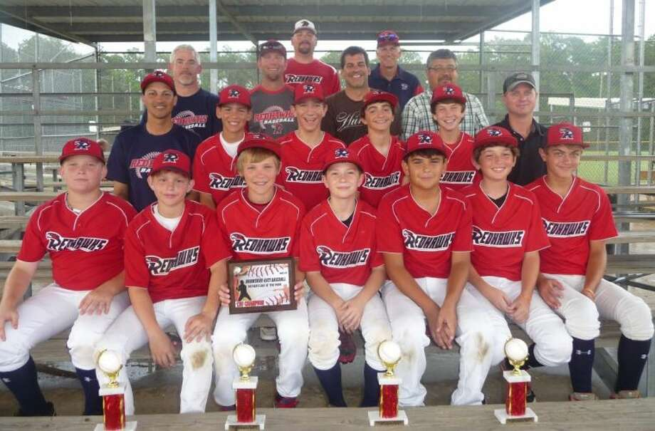 The Redhawks won the 12U Elite Father's Day in the Park Baseball tournament in Katy the weekend of June 15. Shown on the first row, from left to right, are Hunter Draper, Andrew Engelhardt, Clay Bradford, Kyle Sculley, Michael Gonzalez, Matthew Young and Townes Cox. Shown on the second row, from left to right, are Jerry Silva, Jared Silva, Evan Bourgeois, Mason LeBlanc, Conner Kinner and Jim Cox. Shown on the third row, from left to right, are Tony Draper, Tony Kinner, Steve LeBlanc and Leo Gonzalez. Shown on the fourth row, from left to right, are Head Coach Mike Young, Coach Richard Bourgeois. Photo: Submitted Photo