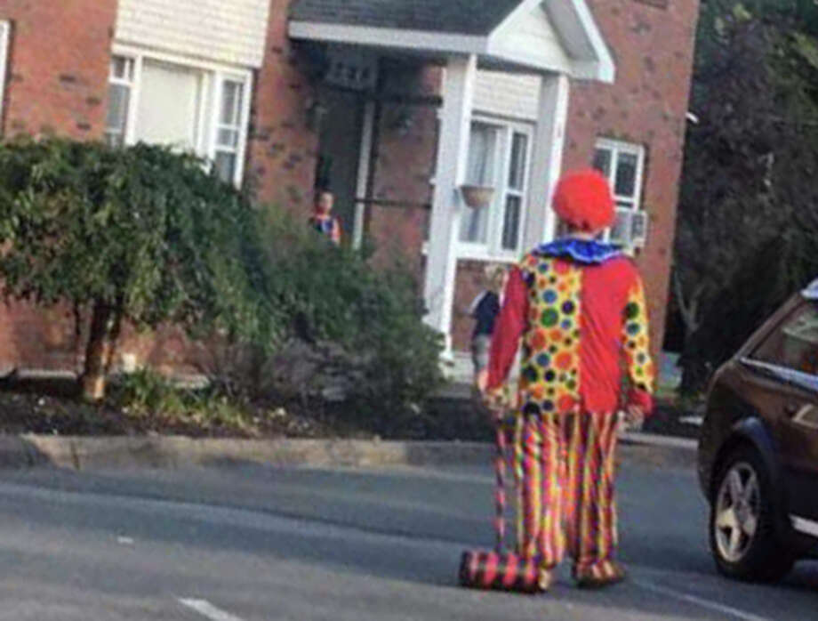 """Creepy clowns"" have proliferated on social media, such as this sighting in Clifton Park, N.Y. Photo: Anne Taylor Via Brenda Lee Cooper"