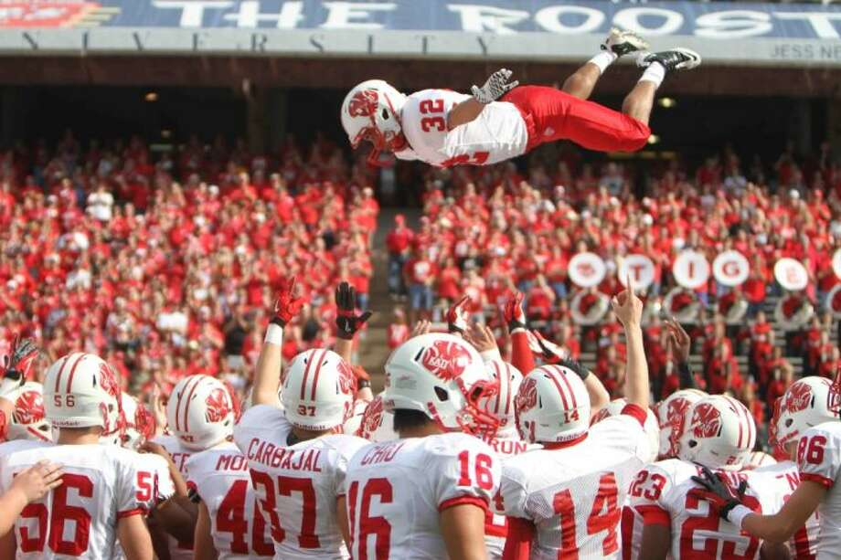Katy played above the competition in 2012, finishing 16-0 with its seventh state title including a regional final victory at Rice Stadium. Photo: Jason Fochtman