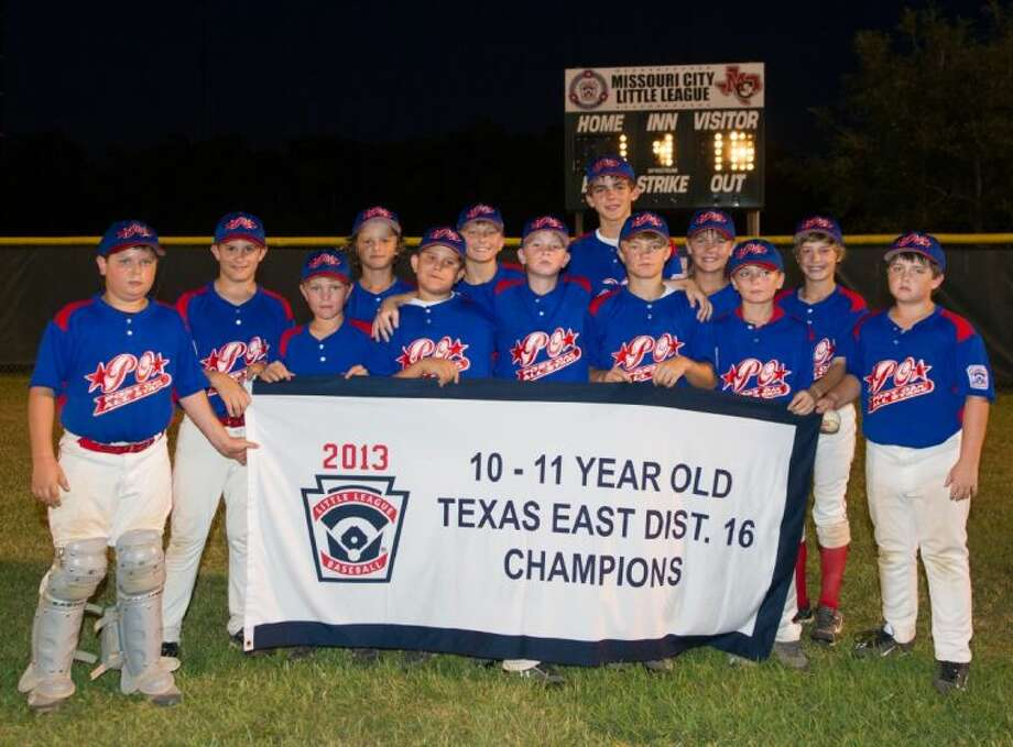 The Post Oak 11s hold their championship banner after they won the Texas East District 16 Little League championship last week in Missouri City. The team went 4-0 in the tournament and now move on to the Section 3 tournament, which begins next Wednesday night in League City. The Oaks defeated the West University American League in the finals Photo: Kevin B Long