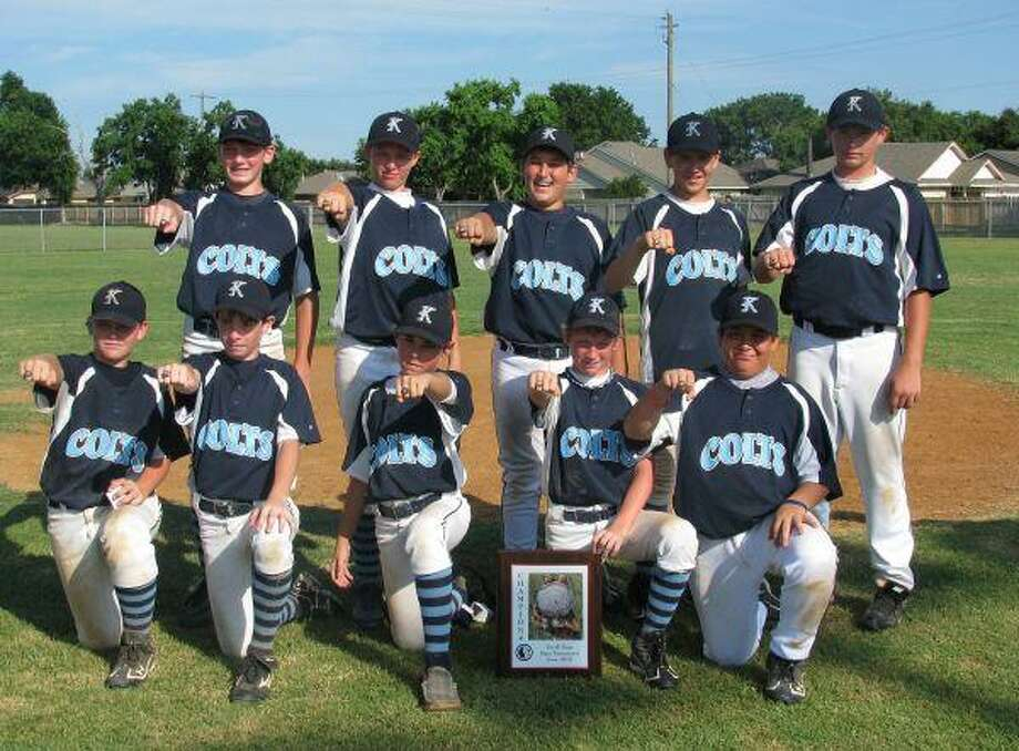 The Kingwood Colts 12U AAA Select Team won the USSSA State Championship June 18-20 played at South Post Oak Park. The Colts went 4-1 to win the championship. In the championship game the Colts beat the Pearland Monarchs 11-2 to capture the 12U AAA USSSA state title. Over the five games the Colts scored 48 runs while only allowing 20. On the back row, from left, are Sean Rydell, Curtis Rhodes, Parker Coogan, Grant Eastman and Colton Moore. On the front row are Zack Keller, Josh Slayton, Jason Blanchard, Trenton Erickson and Greg Hellyer.