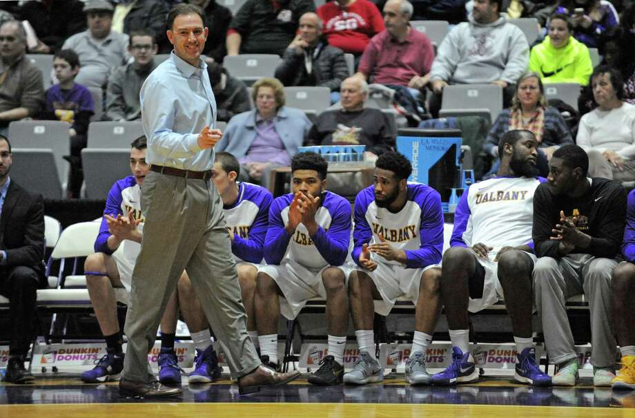 UAlbany head coach Will Brown during their game against UMBC in America East men's basketball opener at the SEFCU Arena on Wednesday Jan. 6, 2016 in Albany, N.Y.  (Michael P. Farrell/Times Union) Photo: Michael P. Farrell / 10034868A