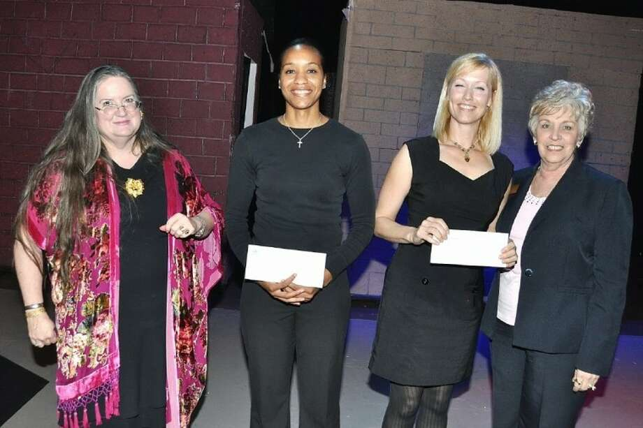 The Scholarships Presentation pictured from left Lucy Turoff, Chair Cultural Arts, Kelley Humphries, Texas Chiropractic College scholarship recipient, Angela Warren, San Jacinto College scholarship recipient and Sherry Trainer, President of Pasadena Chamber of Commerce. Photo: JACKIE WELCH