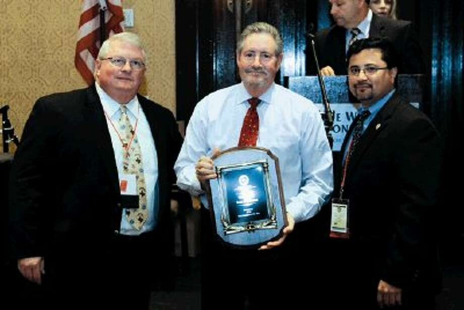 From left to right ; Constable Mike Truitt- Denton County Constable Pct. 2-President - Justice of the Peace and Constables Association of Texas; Constable Ron Hickman (Award Recipient) - Harris County Constable Pct. 4 and Martin Castillo, Justice of the Peace- Hood County Texas Pct. 2 - J.P.C.A. Past President