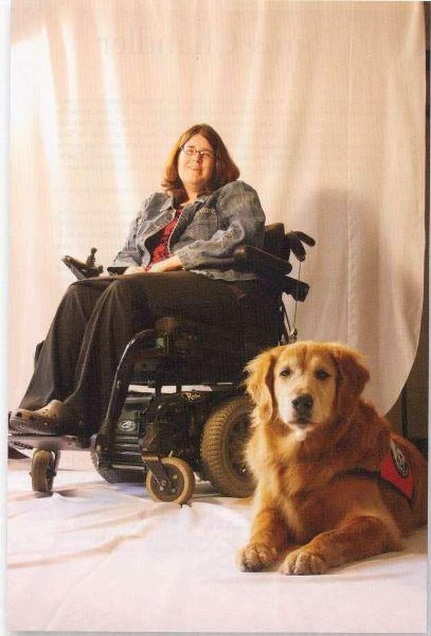 Jones and her service dog, Brandy.