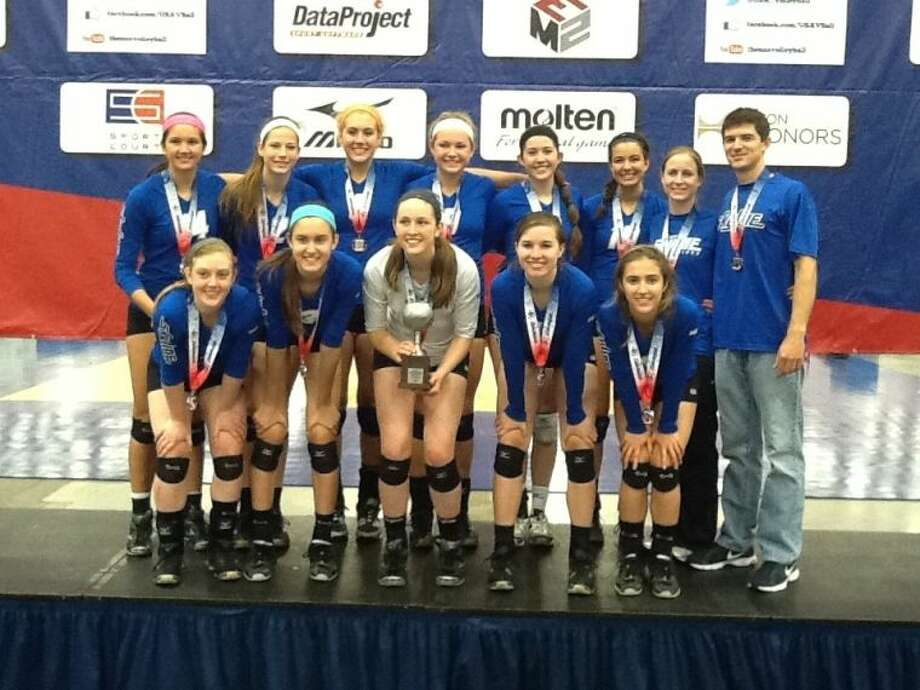 Friendswood's Sarah Redding (top row, third from left) was a member of the Houston Skyline 16 RoShamBo team wich won a silver medal last week at the USA Junior National Volleyball Championships in Dallas. Photo: SUBMITTED PHOTO