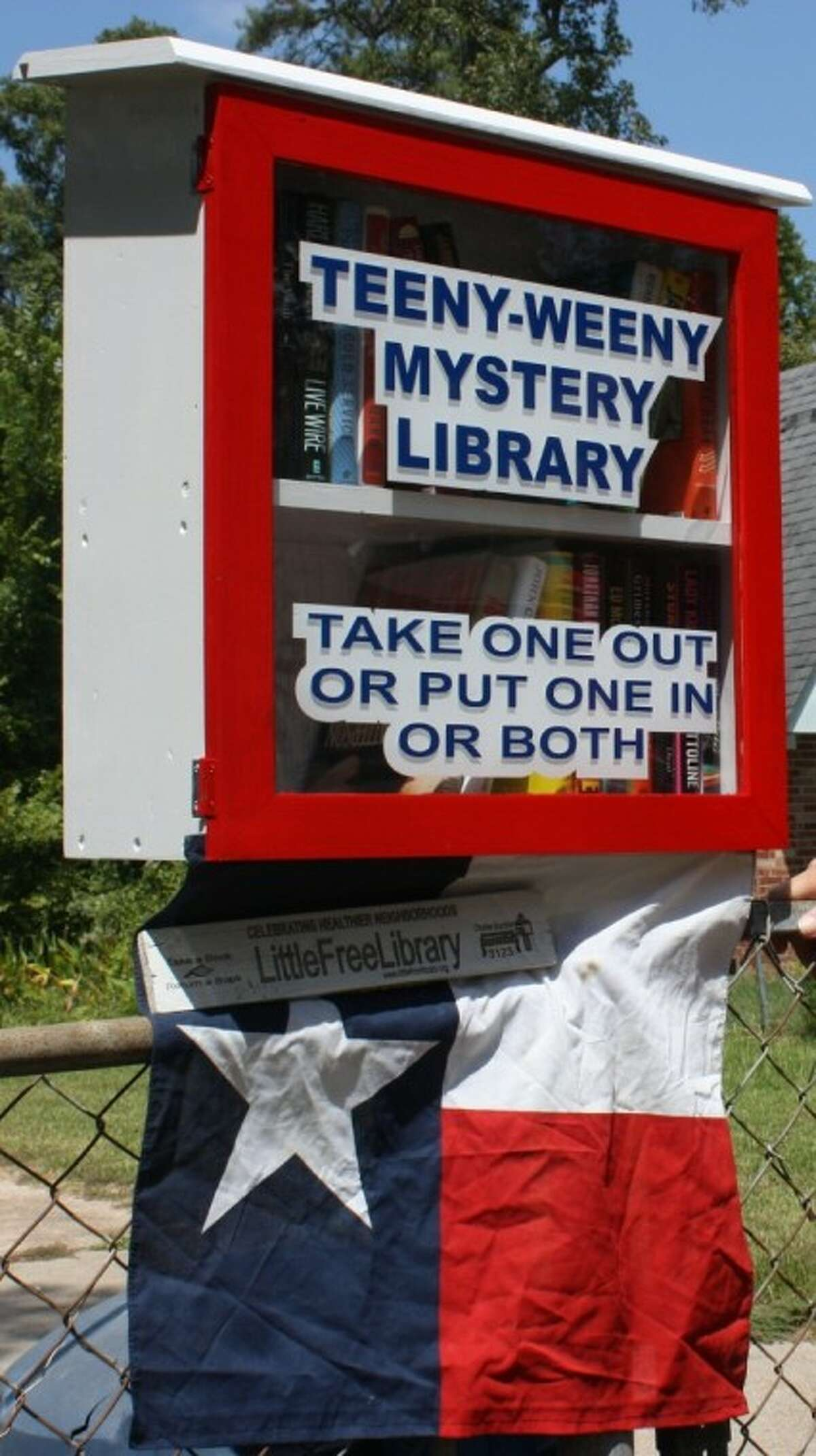 Joe Parsons' Little Free Library is called the Teeny Weeny Mystery Library because it contains mostly mystery novels and because mystery is his favorite genre of books. He has more than 300 books that he will try to circulate with the little library.