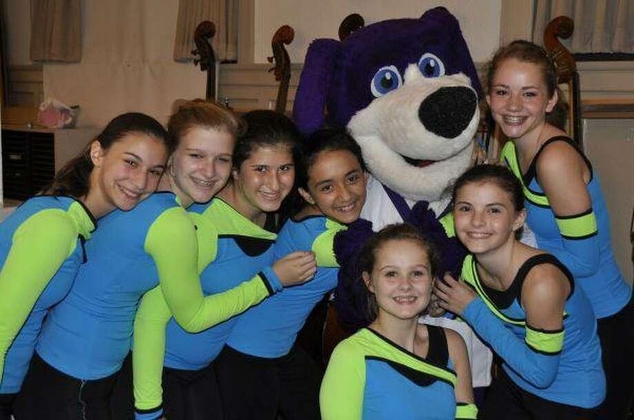 The Lanier dance team with school mascot Sidney.