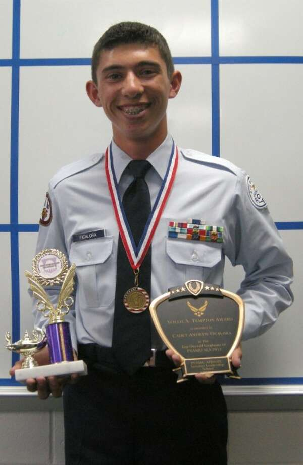 Cypress Woods High School student Andrew Ficalora, a cadet in the school's AFJROTC unit, was named the top overall graduate in the Summer Leadership Training Program at Prairie View A&M University in June. Photo: Submitted Photo