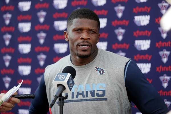 Tennessee Titans wide receiver Andre Johnson answers questions after NFL football training camp Saturday, July 30, 2016, in Nashville, Tenn. (AP Photo/Mark Humphrey)