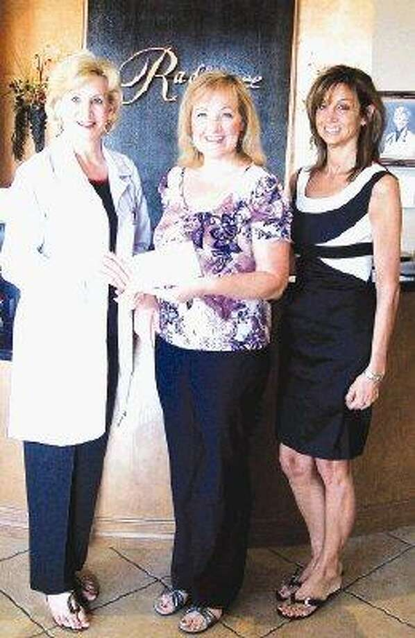 Diana Boulanger, Connecting Families, (far right) stands with Gina Bernacchi (far left) and Lauren Olson, Radiance Advanced Skin & Body Care who is hosting a Diaper Drive for Connecting Families which serves families undergoing stress by providing workshops, programs and counseling. Clients participating in classes can receive free diapers from the agency's Diaper Bank. For more information about Connecting Families go to http://connectingfamilies-mctx.org or call 936- 441-4733.