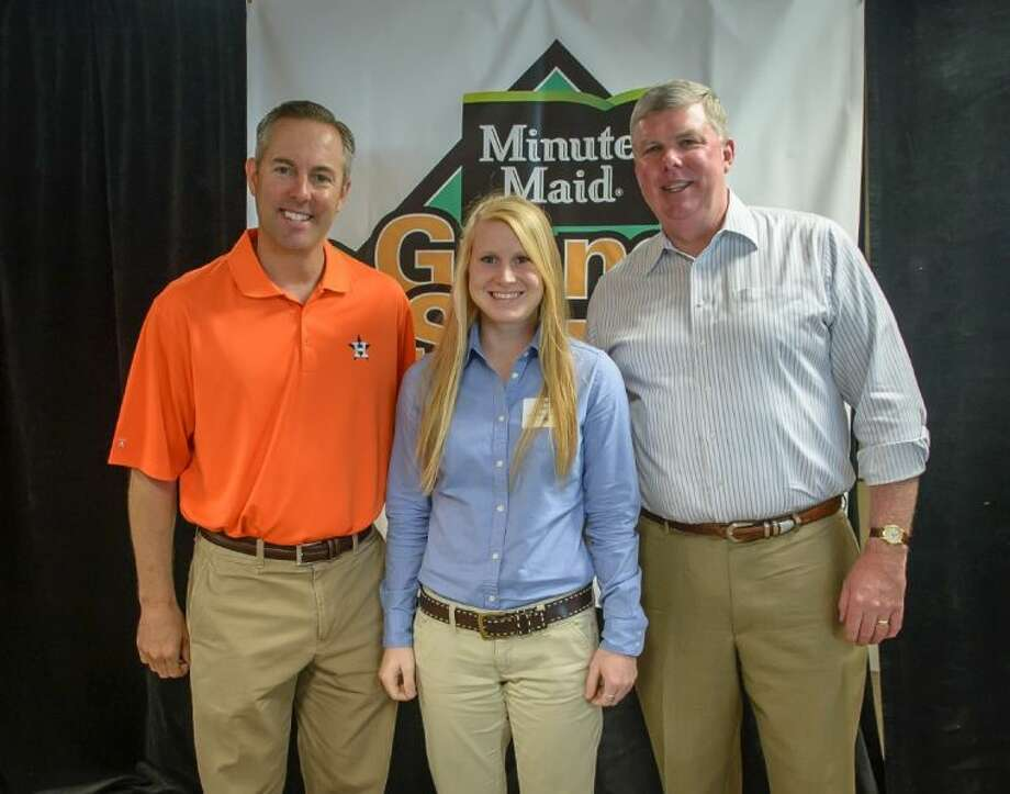 Alyson Gregory from Katy is a recent graduate of Seven Lakes High School. She plans to attend Texas A&M University this fall. Pictured from left to right: Reid Ryan, President of the Houston Astros; Alyson Gregory; and Mike Saint John, President of Minute Maid.