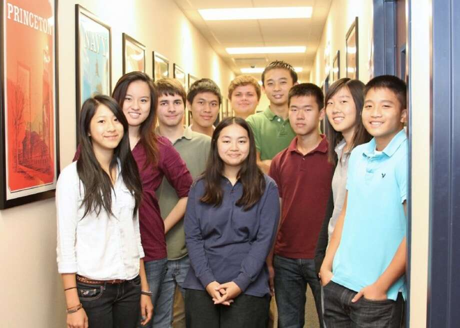 Dawson High School semifinalists in the 2013 National Merit Scholarship Program include (from left) Grace Li, Shannon Wu, Thomas Laroche, Jason Liu, Janie Vo, Augustus Ellis, Bofeng Chen, Steven Xu, Annie Zhang and Christopher Nguyen. Not pictured is Kevin Shao. Photo: COURTNEY BAJUSZ