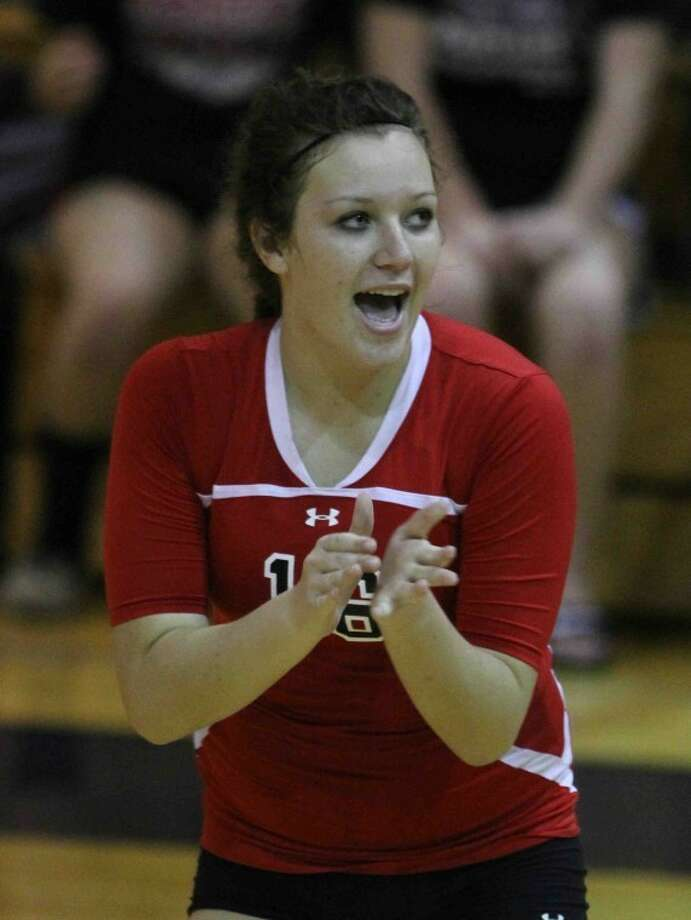 Porter's Victoria Hesson (16) cheers on her teammates during a high school volleyball game at Dayton High School on Sept. 11. Photo: Photo By Jason Fochtman