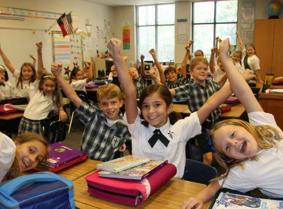 Fourth-grade students celebrate the announcement that St. Anthony of Padua Catholic School is named a Blue Ribbon School by the U.S. Department of Education.