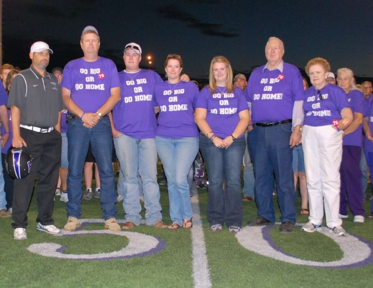 Cody was remembered over the weekend at Tarleton State University where he would have played football on a scholarship this fall. From left, TSU Coach Cary Fowler and Stephens family members Scott, Clay, Melody, Katie, and grandparents Vance and Frankie Stephens.