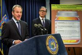 New York State Attorney General Eric Schneiderman announces in March 2015 new guidelines GNC agreed to for herbal supplements it sells. On Sept. 28, 2016, Schneiderman announced a similar agreement with NBTY, a Long Island, N.Y.-based company that sells herbal supplements through Walmart and Walgreens among other retailers. (Photo by Andrew Burton/Getty Images)