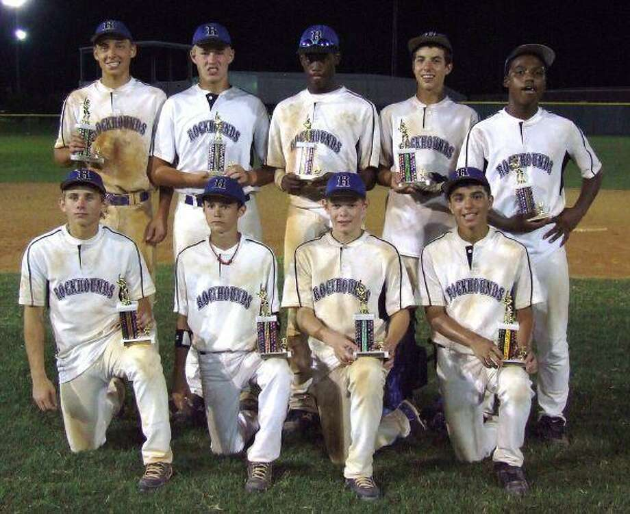 """The Rockhounds Blue 14U Elite AAA baseball team recently won the """"Stolen Bases"""" Tournament held in Brookshire, Texas, by winning five of six games at the tournament. The Rockhounds went 1-1 on the first day and won four times on the second day to win the tournament. In one of those victories, pitcher Ashton Flynt threw a no-hitter against the nationally-ranked Cypress Rockhounds. On the back row, from left, are Ashton Flynt, Kyle Beckert, Daniel Goss, Cameron Crim and Jordan Powell. On the front row are Hunter Stephenson, Grant Ware, Ethan Kloterboer and Jesus Garcia. Not pictured are Matt Jacquinot, Anthony Soliz along with coaches Kyle Stephenson, Travis Klosterboer, Kevin Jacquinot, Rodney Powell and Todd Ware."""