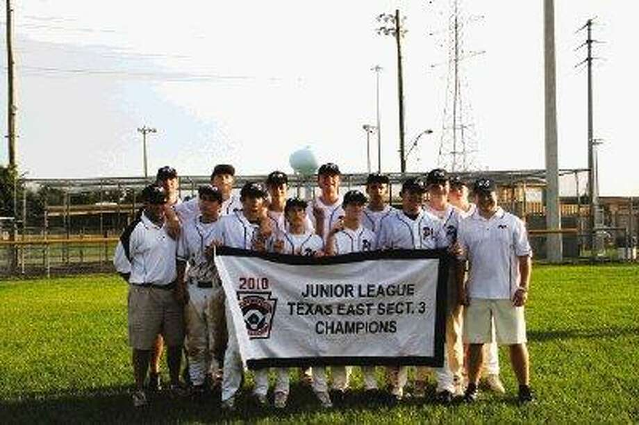 The Post Oak Juniors 13-14 All-Star team also won the Texas East Section 3 tournament Monday and will begin play in the Texas East State tournament Saturday night in Tyler. The team, shown here with their Sectional 3 championship banner, outscored their three opponents at Sectionals by a 52-1 count in three easy wins.