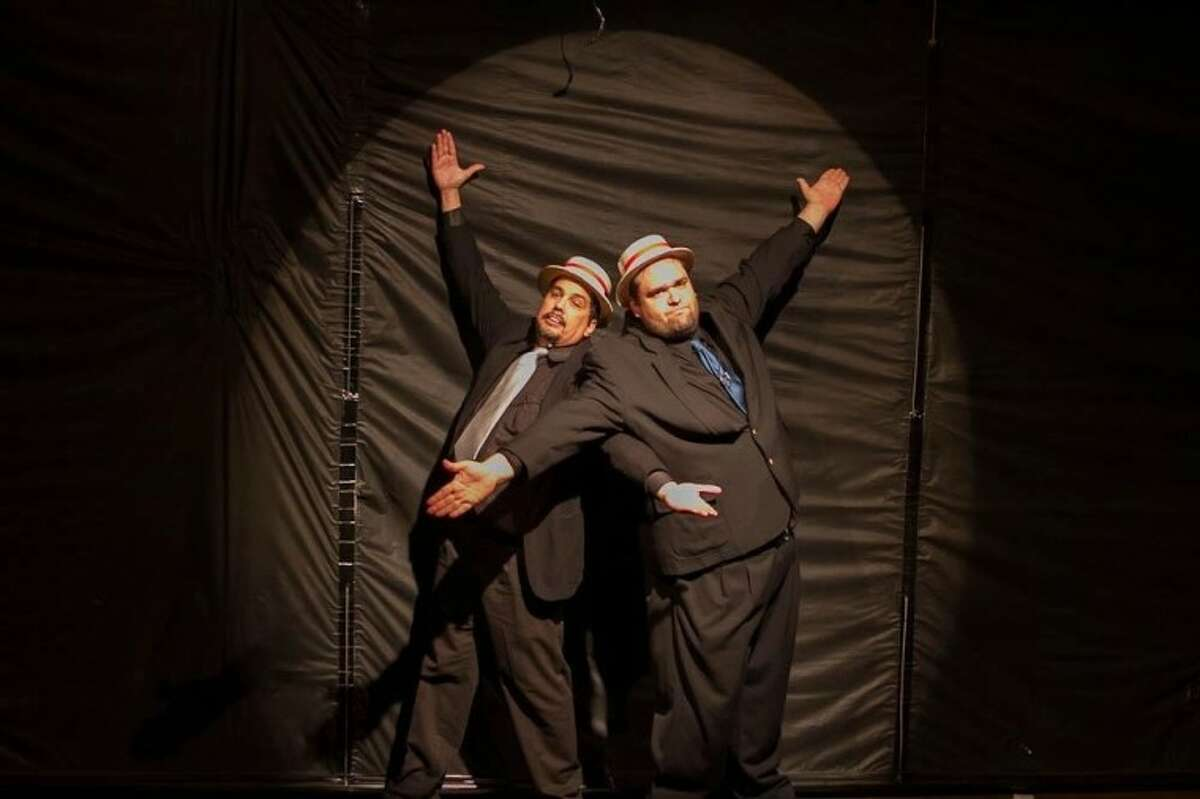 """The side-splitting gangsters in """"Kiss Me, Kate"""" (left to right) Jeff Coletta and Steven Sarp perform """"Brush Up on Your Shakespeare"""" at Clear Creek Community Theatre."""