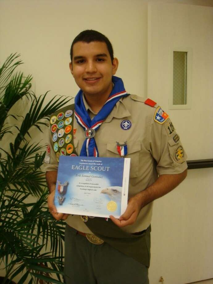 Erik Gonzalez learned the value of hard work from his aunt and Boy Scout Troop 125 in West University Place, and translated those lessons into earning Eagle Scout rank, which he accepted in a Court of Honor on Aug. 26. Photo: Submitted Photo