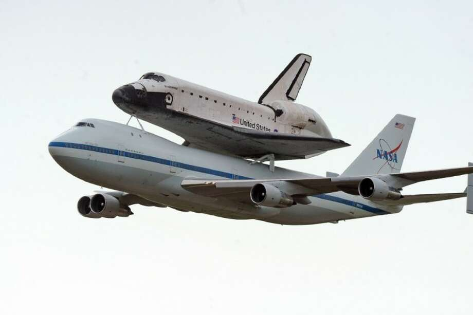 Space Shuttle Endeavour approaches Ellington Wednesday morning.