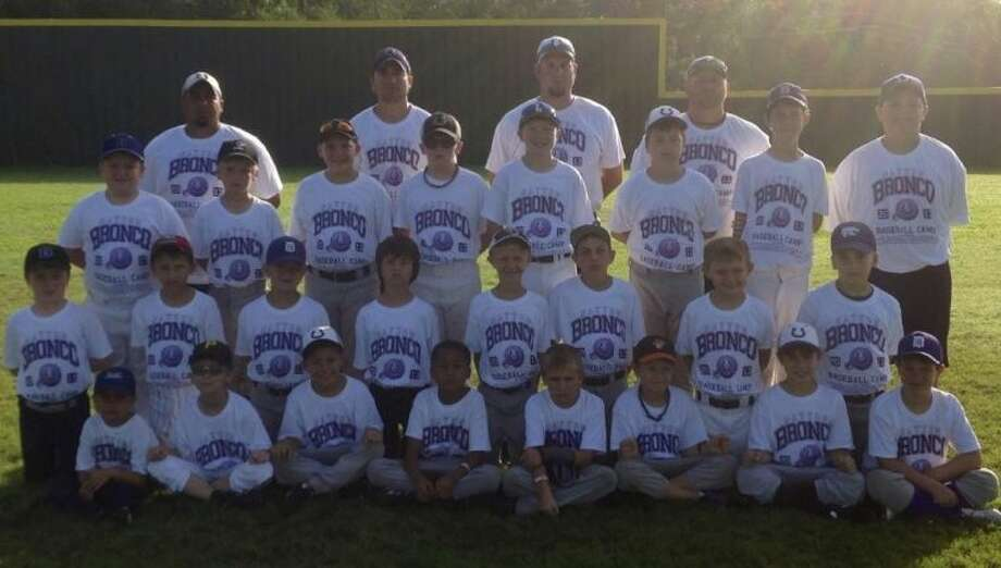 Nearly 30 of Dayton's future baseball heroes attended the 2013 Bronco Baseball Camp held June 17-20. In the front, from left to right, are Hunter Votaw, Chase Ripkowski, Ryan Wilson, Landon Baldwin, Ethan Bradt, Jaxon Purse, Remington Jung, and Jace King; in the middle row are Brendon Lavalley, Sean Follet, Steven Dupont, Conner Kelley, Dylan Mallet, Garrett Perkins, Ben Simon, and Lucas Baker; in the third row are Dylan Ellis, Carson Williams, Brennan Chauvin, Timothy Ruckman, Ronnie Muirhead, Curtis Follet, Austin McDowell, and Lucas Tanton; with coaches Armando Ramirez, Micah Peoples, Andrew Moss, and Bobby Little in the back. Campers not pictured were Xavier Garcia, Clayton Land, and Stanley Walton. Photo: SUBMITTED PHOTO