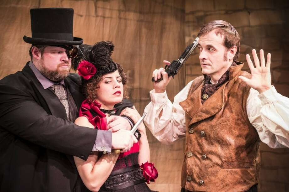 "Jeff McMorrough as Professor Moriarty, Katherine Hatcher as Irene Adler and Chip Simmons as Sherlock Holmes in a dangerous moment in the the thriller, ""Sherlock Holmes: The Final Adventure"" at A.D. Players, 2710 W. Alabama, Houston (77098) just off Buffalo Speedway. The play runs through October 7. Call for complete information on performance dates and ticket information. Photo: SUBMITTED PHOTO"