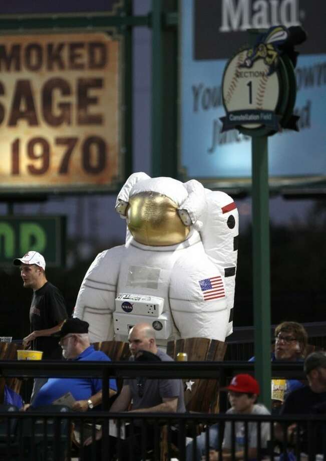 NASA's mascot Cosmo watches the game as he roams the stands during Wednesday's game against the York Revolution at Constellation Field. Photo: Alan Warren/HCN