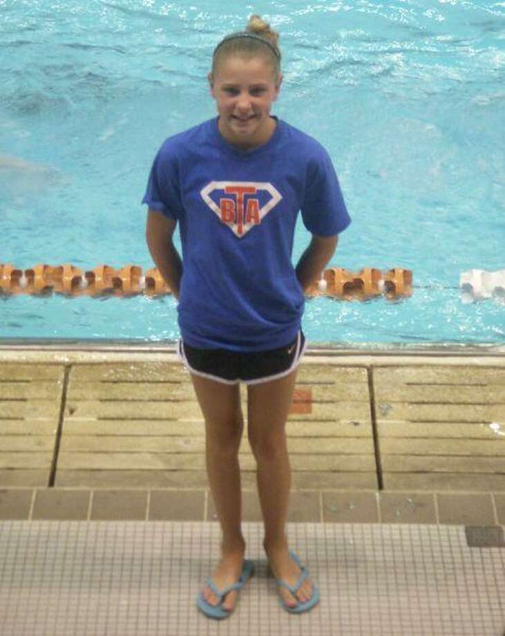 Emily Bocock, a swimmer with Blue Tide Aquatics, won the state championship in the 50-meter 11-year-old girls breaststroke at the Texas Age Group Championship at UT July 22-25. Bocock also broke the meet record and the BTA record with her swim. Her time in the finals was 35.98 seconds, two seconds faster than the second-place finisher.