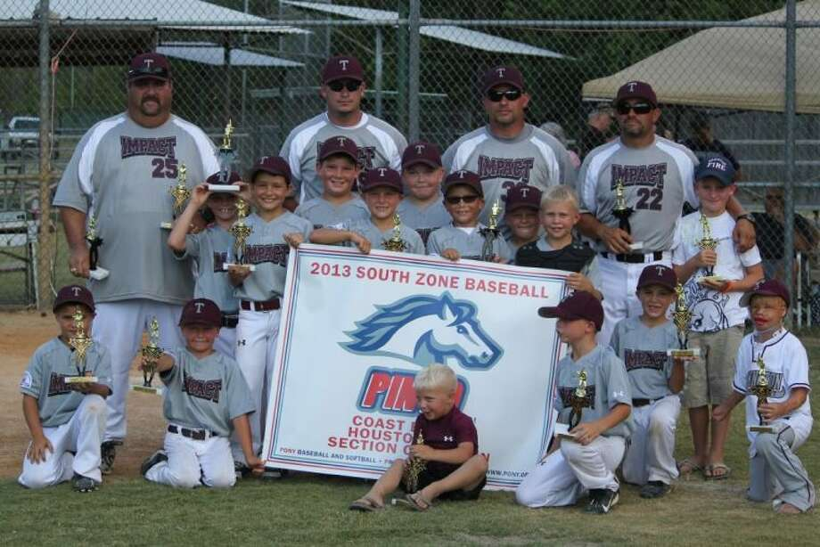 The Tarkington Pinto All-Star team includes Trace Shirley, Clayton Primeaux, Chris Bass, Dennis Hollingsworth, Austin Pate, Ian Herndon, AJ Hallmark, Damon Morelock, Lance Hawthorne, Keaton Lamberth, Aiden Herndon and Bryan Mills. The coaches are Ronald Shirley, Stephen Herndon, Richard Lamberth and Dennis Hollingsworth. Photo: Submitted Photo