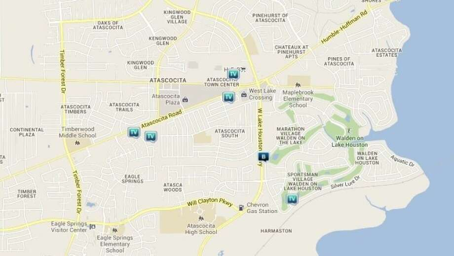 Law enforcement activity in the Atascocita area June 28-July 4. Legend: TV - theft from vehicle (BMV); B - burglary Photo: Credit: Map By Crimereports.com